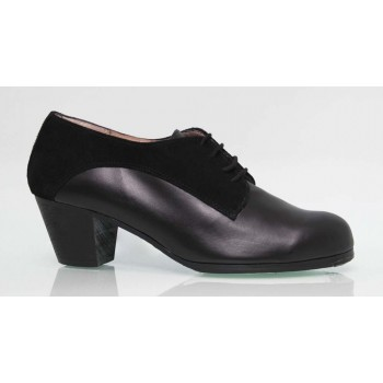 Flamenco Professional Combined Leather and Suede Black Shoe