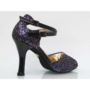 Combined Glitter and Black Patent Leather Lounge Shoe