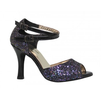 Glitter and Black Patent Leather Combined Ballroom Shoe