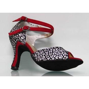 Chaussure combinée en cuir verni rouge fantaisie