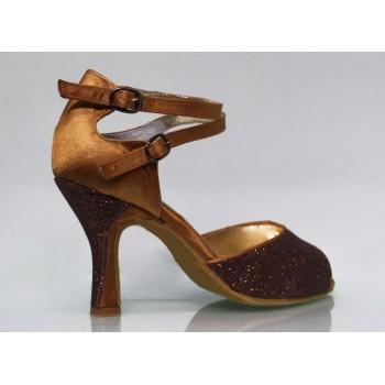 Zapato de Salón Combinado Glitter y Raso Bronce