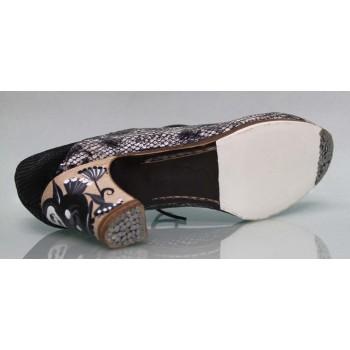 Zapato Profesional Piel Fantasía Serpiente Negro