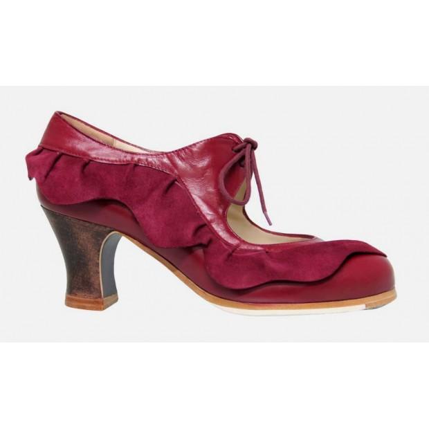 Zapato Profesional Piel Burdeos con Volante de Piel de Ante Burdeos
