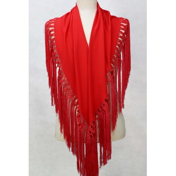Coral red shawl 150 cm.