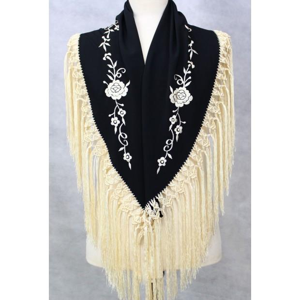 Shawl Embroidered Black / Ivory 127 cm.