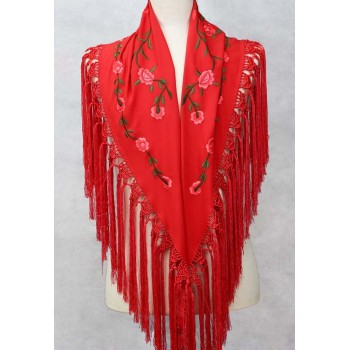 Coral Shawl Embroidered Flowers 150 cm.