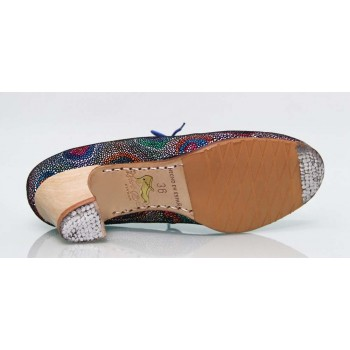 Chaussure professionnelle fantaisie multicolore à lacets