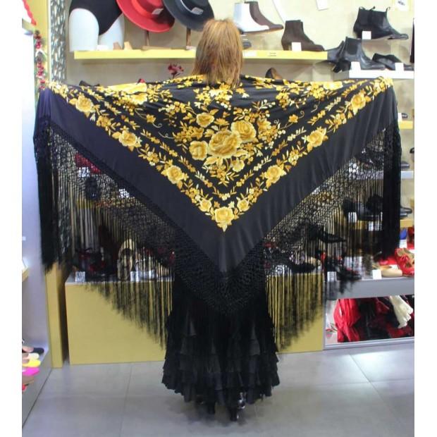 Black Shawl Hand Embroidered 140 cm.