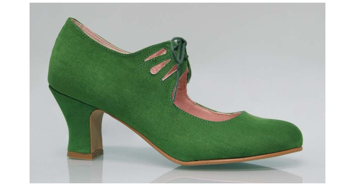 Cordons verts en daim flamenca
