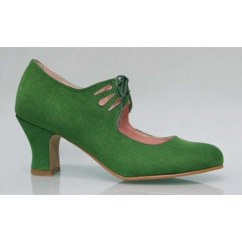 Flamenca Laces Green Synthetic Suede