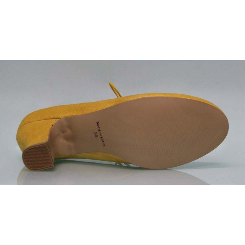 77d836bbc02 Flamenca Shoe with Lace Suede Mustard Color