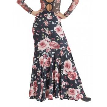 Falda Flamenco Entallada Flores Rosas