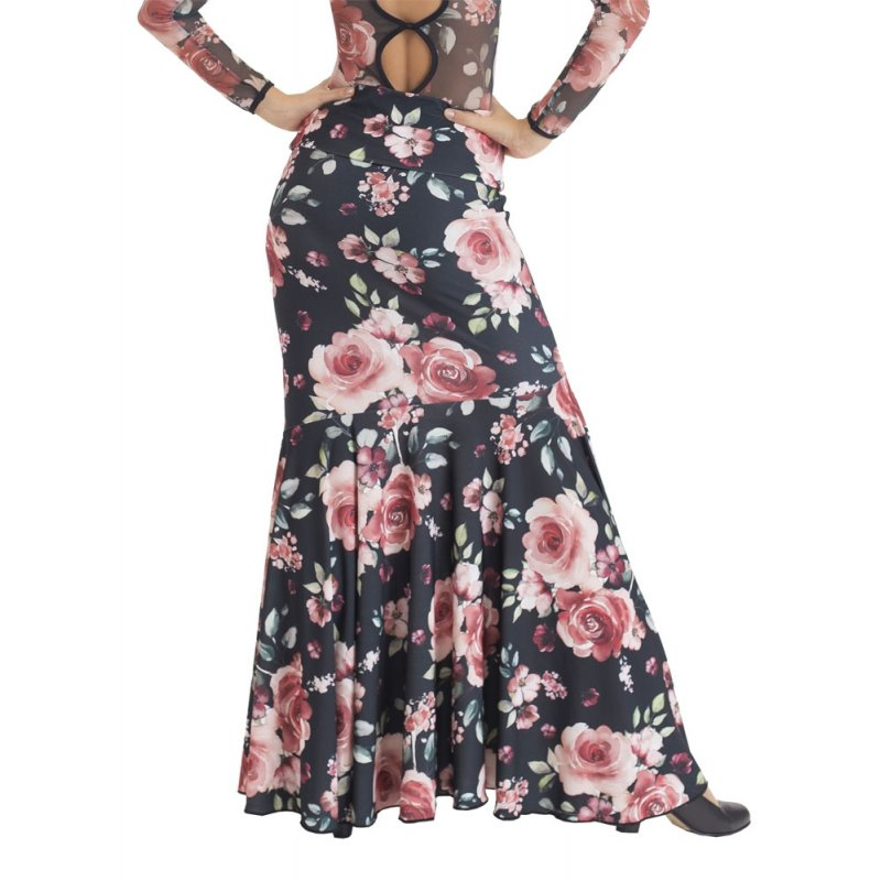 retro el más baratas ahorre hasta 60% Falda Flamenco Entallada Flores Rosas