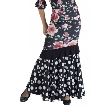 Black Flamenco Skirt Combined Flowers and Polka Dots