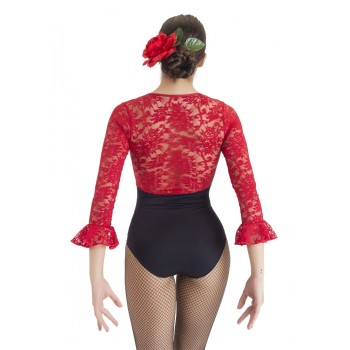 Black Maillot with Red Lace