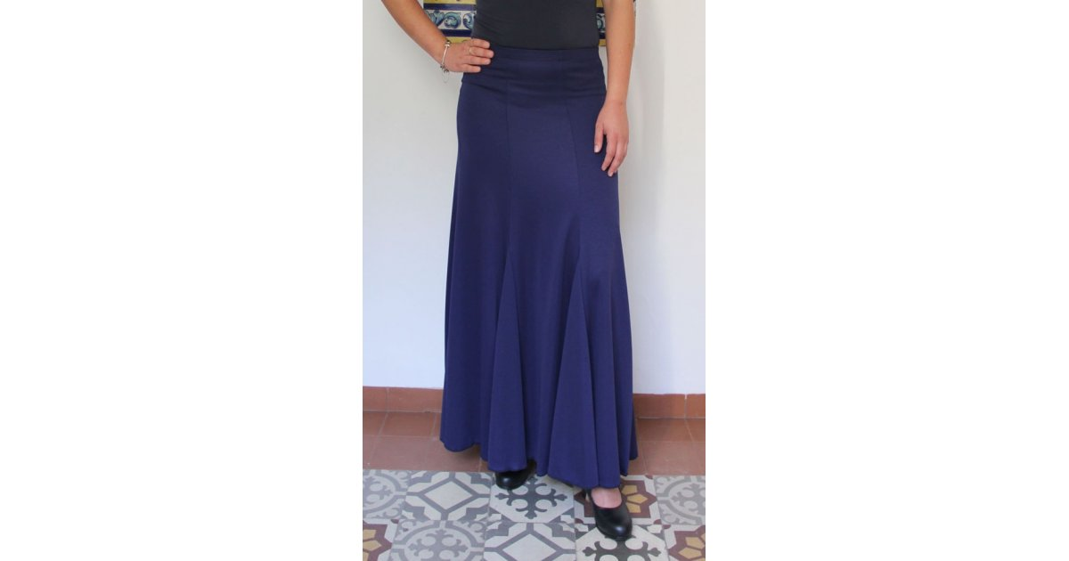 Falda Flamenco Azul Marino con nesgas