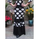Black Flamenco Skirt with White Polka Dots