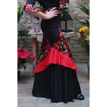 Flamenco Combined Skirt Flowers and Polka Dots