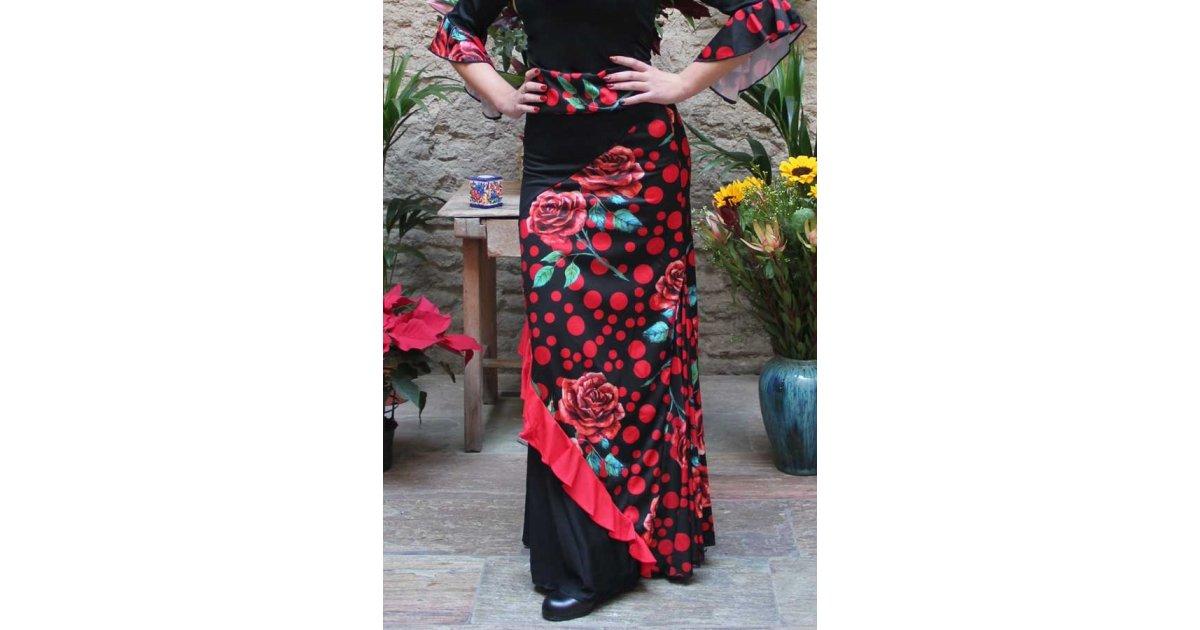 Jupe Flamenco Combinée Fleurs Et Pois