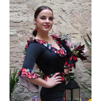 Top Flamenco Negro Volantes