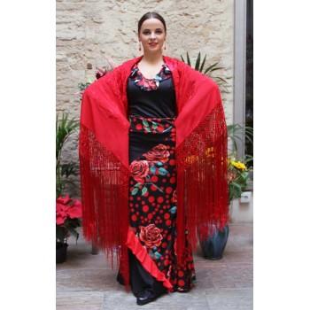 Mantón Rojo Bordado a Mano Flores y Flecos Rojos 135 cm.