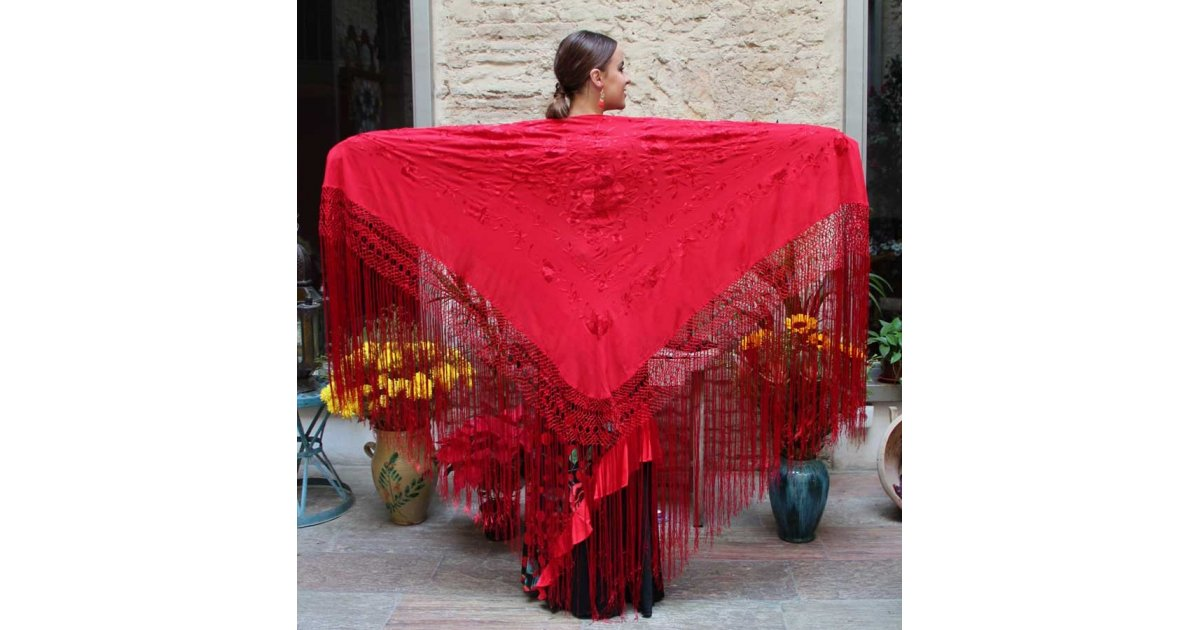 Châle Rouge Fleurs Brodées à la Main et Franges Rouges 135 cm.