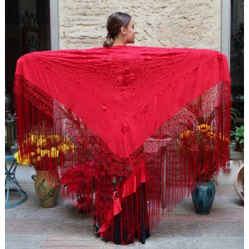Red Shawl Hand Embroidered Flowers and Red Fringes 135 cm.
