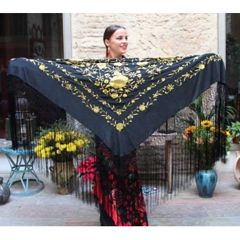 Black Shawl Hand Embroidered Flowers Gold and Fringes Black 135 cm.