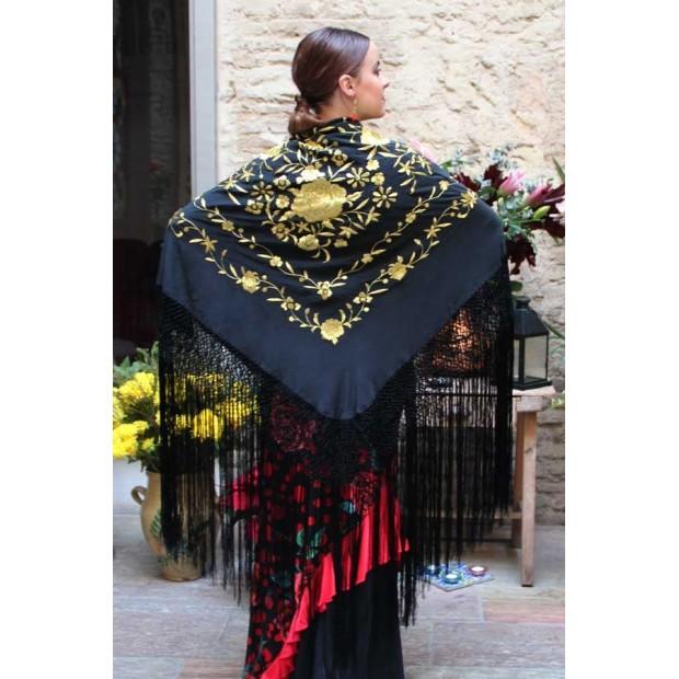 Châle Noir Fleurs Brodées à la Main Or et Franges Noir 135 cm.