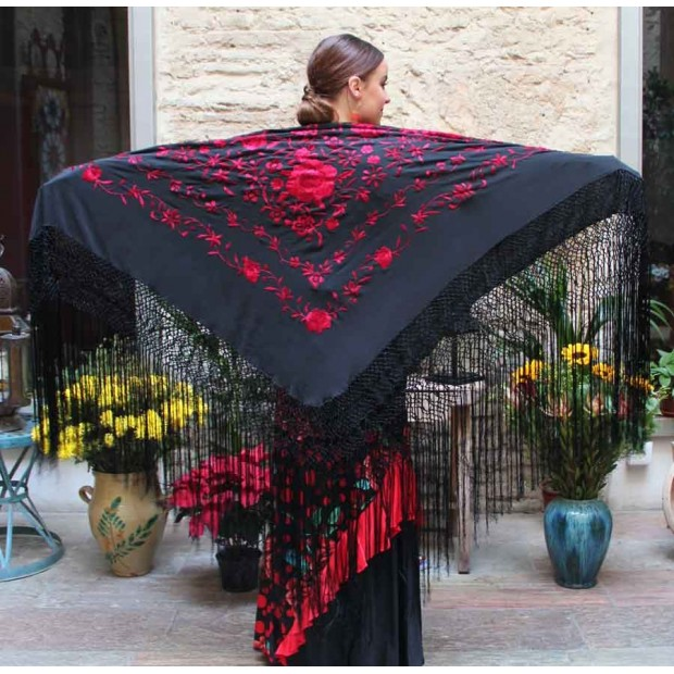 Black Shawl Hand Embroidered Red Flowers 135 cm.