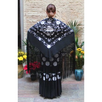 Black Shawl Hand Embroidered White Flowers 135 cm.