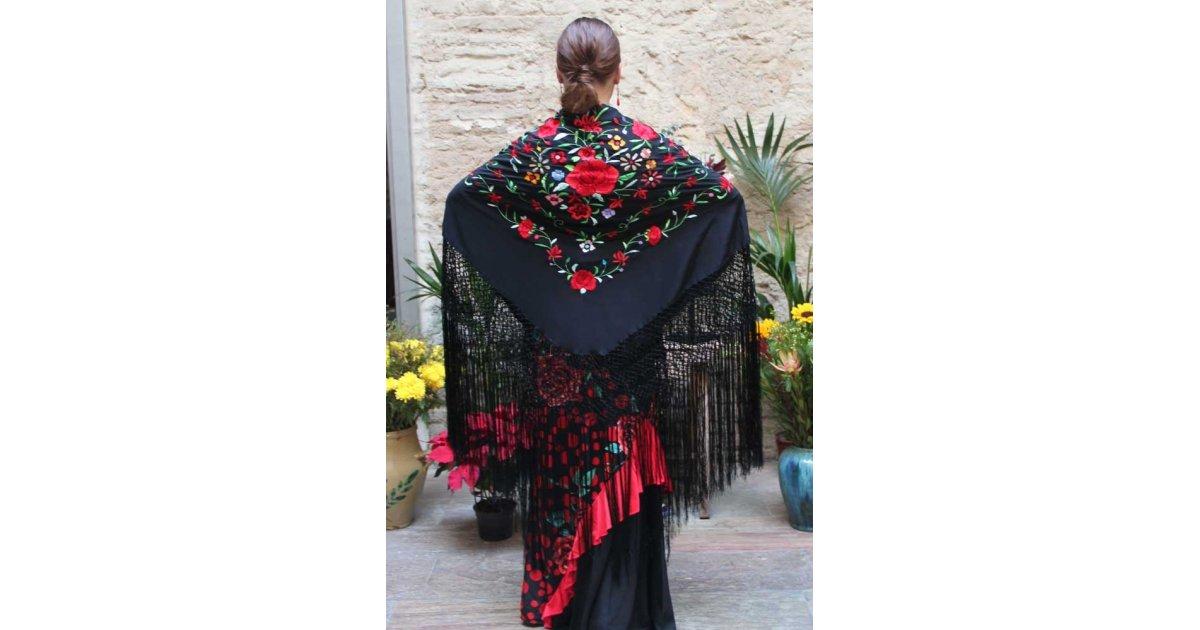 Châle Noir Fleurs Brodées à la Main Multicolore 135 cm.