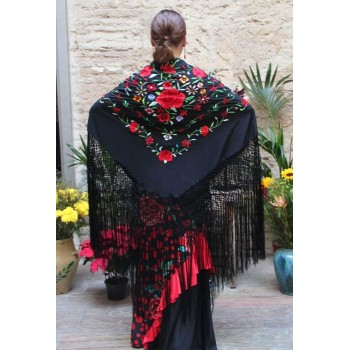 Black Shawl Hand Embroidered Flowers Multicolor 135 cm.