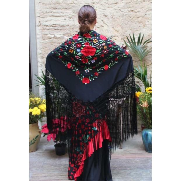 Mantón Negro Bordado a Mano Flores Multicolor 135 cm.