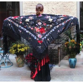 Black Shawl Hand Embroidered 140 cm.