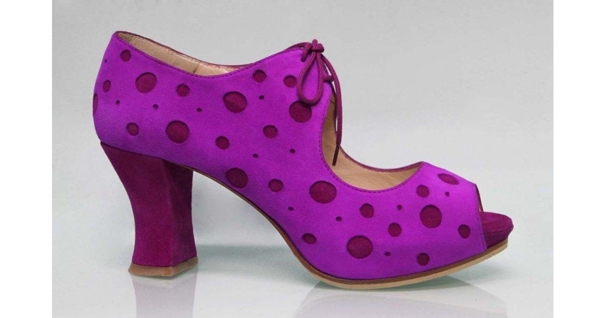 Zapato de Calle Ante Fucsia con Lunares Buganvilla
