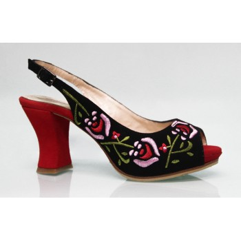 Street Shoe Black Suede Embroidered Multicolor
