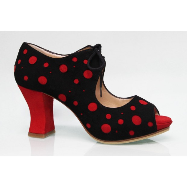 Black Suede Street Shoe with Red Polka Dots