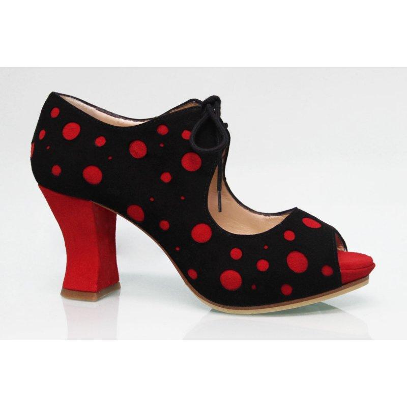 En Noire À Chaussure Daim Ville Baile Zapatos De Pois Rouges Fc3uKTl1J