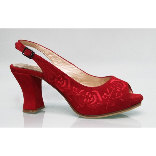 Red Embroidered Red Suede Street Shoe