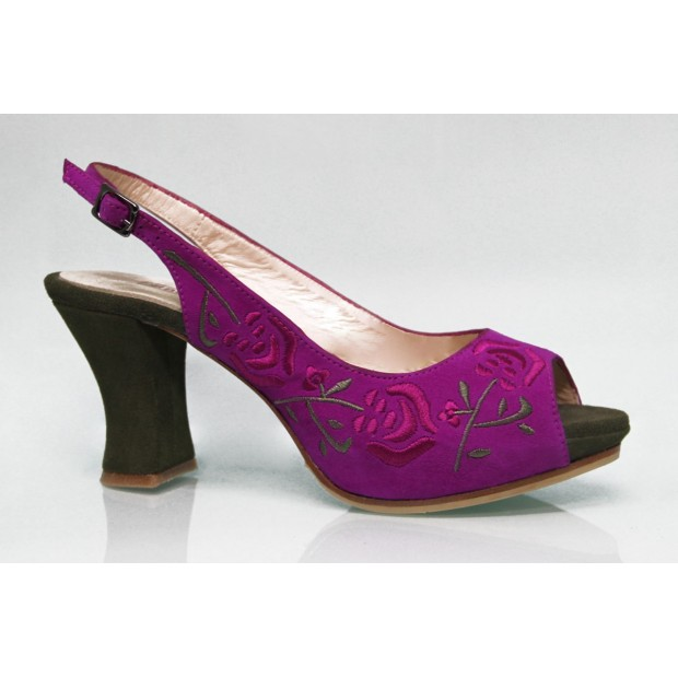 Fucsia Embroidered Suede Fur Street Shoe