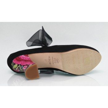 Black Suede Street Shoe with Bow