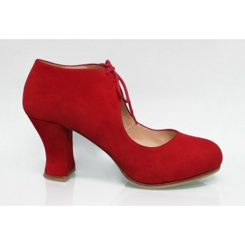 Red Suede Street Shoe with Laces