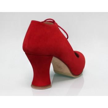 Zapato de Calle Ante Rojo con Cordones