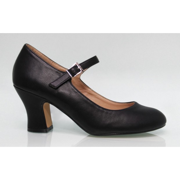 Zapato Flamenca Polipiel Negro