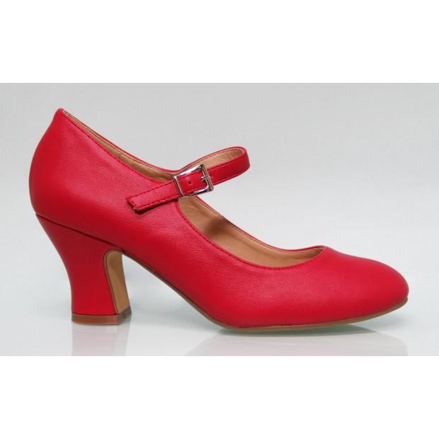 Zapato Flamenca Polipiel Rojo
