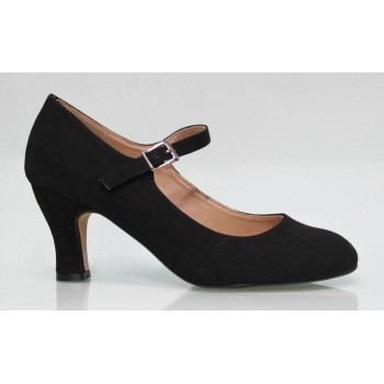 Black Flamenca synthetic Suede Shoe