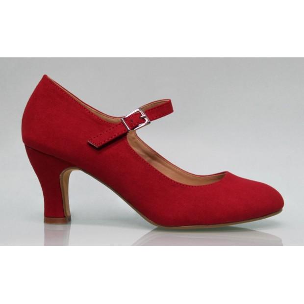 Zapato Flamenca Ante Rojo