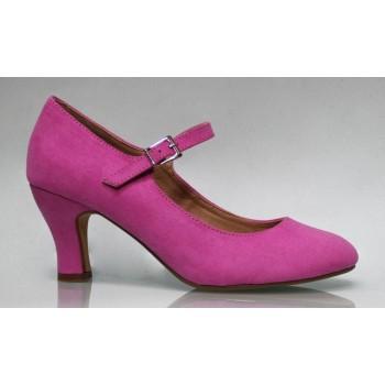 Chaussure de flamenco en daim fucsia