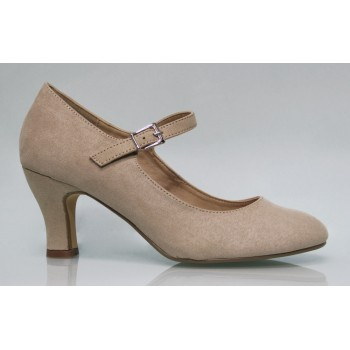 Earth color Flamenca synthetic Suede Shoe